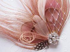 Peacock Feather Hair Clip WEDDING FASCINATOR bridal accessory Antique Pink facinator bride hair piece - Ready to Ship via Etsy