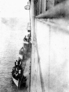 These are Titanic survivors boarding the Carpathia in 1912.