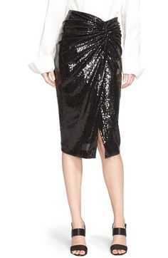 Donna Karan New York Front Twist Sequin Skirt available at #Nordstrom