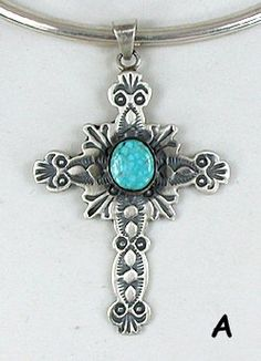 Native American Sterling Silver Turquoise  Cross  pendant