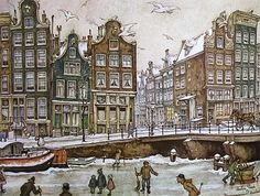 Anton pieck Gifs images and Graphics. Anton pieck Pictures and Photos. Gravure Illustration, City Illustration, Anton Pieck, I Amsterdam, Dutch Painters, Dutch Artists, Netherlands, Illustrators, Fairy Tales