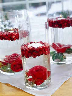 Image detail for -Helen's Corner: Easy Christmas Candle Displays Winter Wedding Centerpieces, Christmas Centerpieces, Christmas Decorations, Holiday Decorating, Red Centerpieces, Decorating Ideas, Graduation Centerpiece, Quinceanera Centerpieces, Valentine Decorations