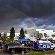 Just hours after his death a rainbow was spotted above the memorial for Prince at Paisley Park Studios in Minnesota.