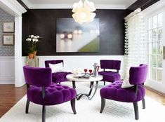 23 Inspirational Purple Interior Designs | Deep purple chairs will bring vibrancy and luxury to a room.