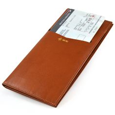Alicia Klein Concierge leather travel wallet, tan, interior view