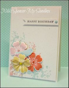 "Just Add Ink - THIS card is not SU but could use Gorgeous Grunge in the pastel inks, 2014 Spring ""Petite Petals"" (or Secret Gardens), etc. Very nice for a feminine birthday card."