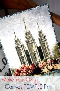 Make your own canvas Temple print!  This would make a great gift and a fun Young Women activity!