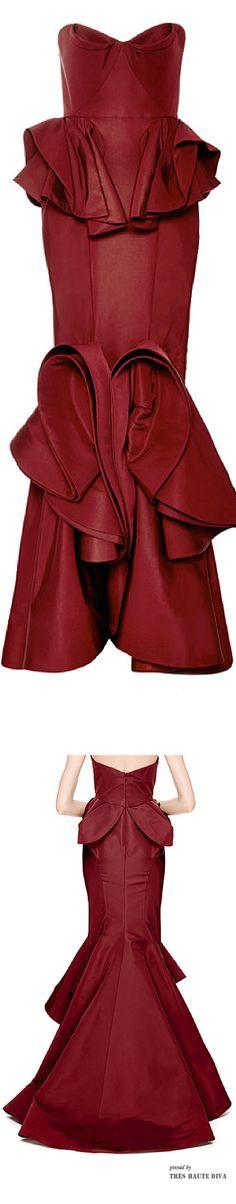 Zac Posen Ruffled-Hem Silk Faille Gown
