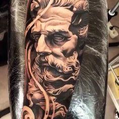 Beautiful black and grey forearm tattoo by - Love this video. Beautiful black and grey forearm tattoo by - Love this video? Show some love by liking/sharing/s Zeus Tattoo, Posseidon Tattoo, Lil B Tattoo, Forarm Tattoos, Hand Tattoos, Chicano Art Tattoos, Star Tattoos, Arm Sleeve Tattoos, Tattoo Sleeve Designs