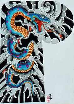 Snake, traditional Japanese Tattoo flash by Kazuo