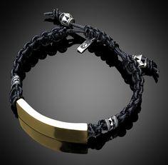 0ad88f8eccfa Bronze Bar   Leather Woven Bracelet Joyeria Hombre