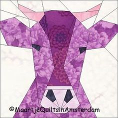 Maartje Quilts in Amsterdam: Mad Bull and other free patterns Paper Pieced Quilt Patterns, Quilt Block Patterns, Pattern Blocks, Pattern Paper, Quilt Blocks, Farm Quilt, Barn Quilt Designs, Animal Quilts, Foundation Paper Piecing
