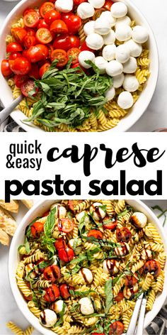 This Caprese pasta salad is filled with grape tomatoes, fresh basil, and cool mozzarella tossed in a pesto vinaigrette and drizzled with a balsamic glaze. Tomato Pasta Salad, Healthy Pasta Salad, Healthy Pastas, Pasta Salad Recipes, Salad With Pasta, Balsamic Salad Recipes, Vegetarian Pasta Salad, Caprese Salad Recipe, Spinach Salads