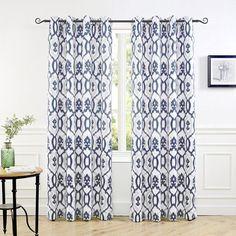 New DriftAway Evelyn Thermal Room Darkening Grommet Unlined Window Curtains Ikat Floral Pattern Set 2 Panels Each Size 52 Inch 84 Inch Navy Blue online - Togreatshop Ceiling Curtain Track, Ceiling Curtains, Window Curtain Rods, Cool Curtains, Room Darkening Curtains, Window Drapes, Hanging Curtains, Window Panels, Panel Curtains