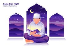 , Ramadhan Night - Vector Illustration- Suitable for your design needs, All elements on this template are editable with adobe illustrator! Editable Text, Before you open the Logo Flat Design Illustration, Graphic Illustration, Illustrations, Poster Ramadhan, Character Flat Design, Maou Sama, Islamic Cartoon, Anime Muslim, Design Poster