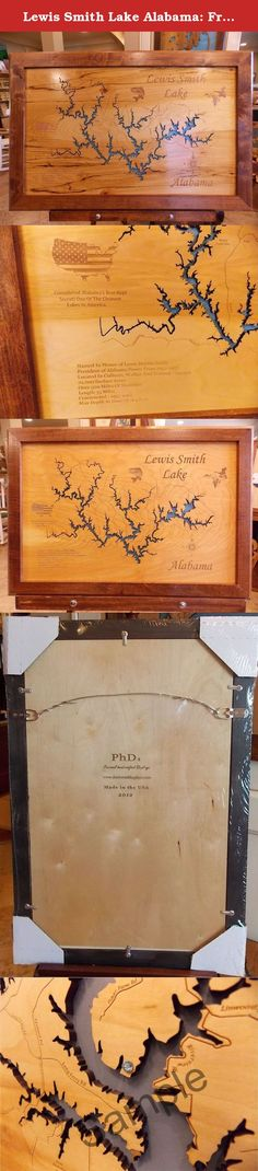 Lewis Smith Lake Alabama: Framed Wood Map Wall Hanging. Lewis Smith Lake Alabama wooden engraved map with interesting history carved into wood. Each map has been created using a laser engraving machine. After the map has been cut out with the laser, and points of interest have been engraved into the surface, the detailed map is then mounted over a tranquil blue background. The frame is English Chestnut in color and also handmade. Each piece is a one of a kind production. The natural grain…