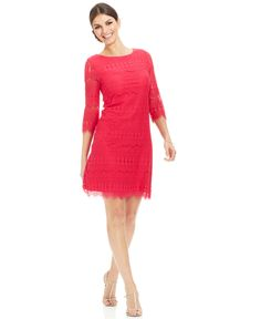 Jessica Howard Illusion-Sleeve Crochet Lace Shift - Dresses - Women - Macy's