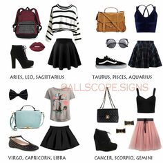 What's your favorite outfit? I like Aries, Libra, and Gemini ♈, ♎, ♊ - Mary-Anne Forster - Astrology party Zodiac Signs Sagittarius, Zodiac Star Signs, Gemini And Libra, Aries Astrology, Teen Fashion Outfits, Outfits For Teens, Fashion Fashion, Zodiac Clothes, Zodiac Sign Fashion