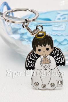 30 Boy Angel Keychain Favor Baptism First Communion Christening Bautizo Llavero