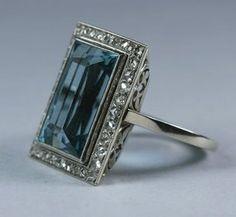 French Art Deco Aquamarine Diamond, ca 1920.