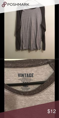Old Navy Baseball Crew Shirt Light and dark grey baseball crew long sleeve shirt. In great condition. Old Navy Shirts Tees - Long Sleeve