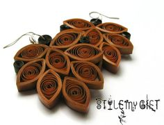 Autumn Leaf  Paper Quilled Earrings by StyleMyGift on Etsy, $11.00