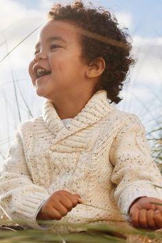 Купить Светло-бежевый свитер с воротником-шалькой и вязкой в косичку (3 мес.-6 лет) from Next Russia