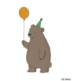 Bear Party Art Print by Liz Climo Cute Cartoon, Cartoon Drawings, Cute Drawings, Liz Climo Comics, Bear Drawing, Drawing Girls, Bear Party, Children's Book Illustration, Bears