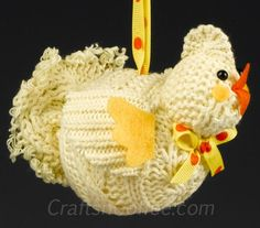 How to repurpose sweaters into a Recycled Sweater Chicken Christmas Ornament
