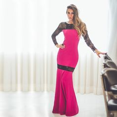 vestidos de renda rosa com manga - Pesquisa Google