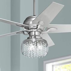 "52"" Casa Optima Brushed Steel and Crystal Ceiling Fan - #86646-66116-V0172 