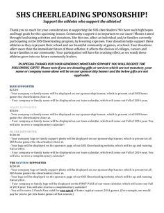Sponsorship Letter Examples For Cheerleading