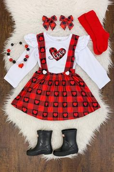 """Red Black Plaid : Red Black Plaid """"Love"""" Suspender Skirt Set – Sparkle In Pink Little Girl Outfits, Cute Outfits For Kids, Toddler Girl Outfits, Baby Outfits, Toddler Valentine Outfits, Valentines Outfits, Baby Girl Fashion, Toddler Fashion, Kids Fashion"""