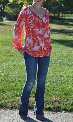 Fall Fashion from Karen Kane – Flowy Blouses Galore - this tropical print easily transitions to fall with flare jeans and wedge heels