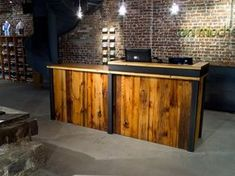 Stained pine and steel point of sale counter or reception desk is perfect for any retail or office solution. Custom reception desk or sales counter available. Cash Counter Design, Cash Wrap Counter, Retail Counter, Store Counter, Restaurant Counter, Reception Counter, Reception Desks, Wood Counter, Pallet Furniture