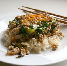 Sweet and Spicy Ground Turkey Stir-Fry. I'm cooking this tonight with brown rice. You can use any combination of vegetables! I like it and so does my fam.