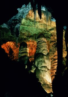 New Mexico's Carlsbad Caverns is a system of 119 ancient caves hidden below the landscape, formed when sulfuric acid dissolved limestone that surrounded it. The climate inside is cool, and makes an exciting stop for caving, either on a self-guided or ranger-guided tour. When the sun sets, listen to a ranger talk just before watching the caves' bats fly out into the sky. Get more information about Carlsbad Caverns.