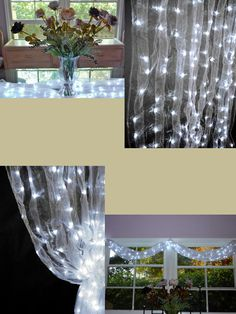 sheers and white lights. Can go anywhere in a wedding