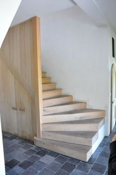 gorgeous simple stairs - visit the website to tour this breath-takingly simple Belgian home