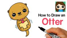 Cartoon Drawing Ideas How to Draw an Otter Easy and Cute - Cute Easy Drawings, Cute Kawaii Drawings, Cute Animal Drawings, Realistic Drawings, Drawing Cartoon Characters, Character Drawing, Cartoon Drawings, Girl Drawings, Cartoon Drawing Tutorial