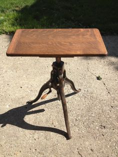 Antique F A Hardy Co Opticians Stand Steampunk Cast Iron Industrial Crank Table