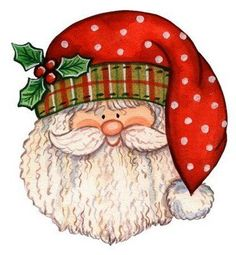 Santa with a cool head band and a polka dot hat. Maybe it's his summer one.