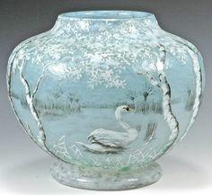 Emile Galle Swan vase