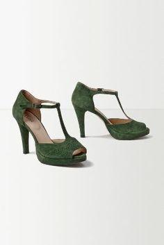 Abundant Heels  love the green suede, don't love the enormous heel!