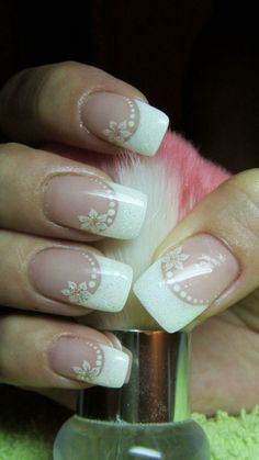 The French manicure is very popular for the wedding nails - Nail Art Model Acrylic Nail Designs, Nail Art Designs, Acrylic Nails, Bride Nails, Wedding Nails, French Nails, Hair And Nails, My Nails, Nail Art Simple