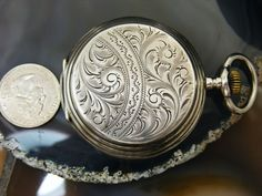 Antique Etched Sterling Silver POCKET WATCH Hunter Case Remontoir Size 13 Repair  | eBay