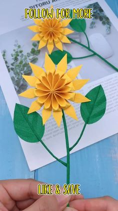 Paper Sunflowers, Paper Flowers Craft, Paper Crafts Origami, Origami Art, Diy Flowers, Cool Paper Crafts, Oragami, Flower Diy, Diy Paper