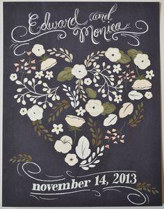 Beautiful Custom Chalkboard Inspired Floral Heart Print 11 x 14. $75.00, via Etsy.