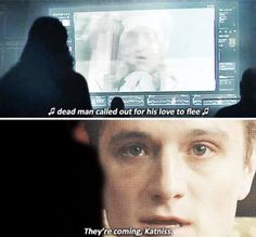 Oh my goodness I just realized that after that line, peeta gave katniss a warning. He called out for his love to flee.