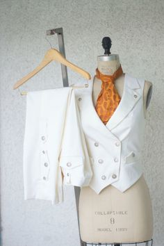 White Wedding Suit---A Women's Steampunk Vest Tuxedo